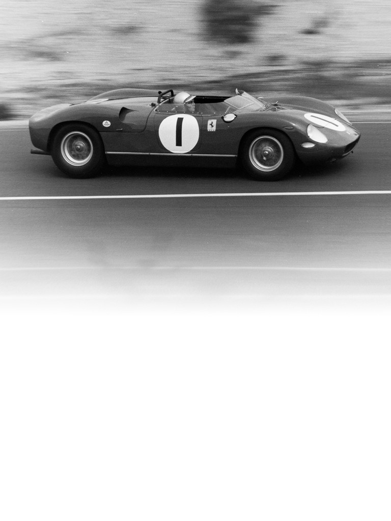Ferrari 250 P: The very first 12-cylinder mid-engined Ferrari was unveiled to the press on the track at Monza on March 4 1963.