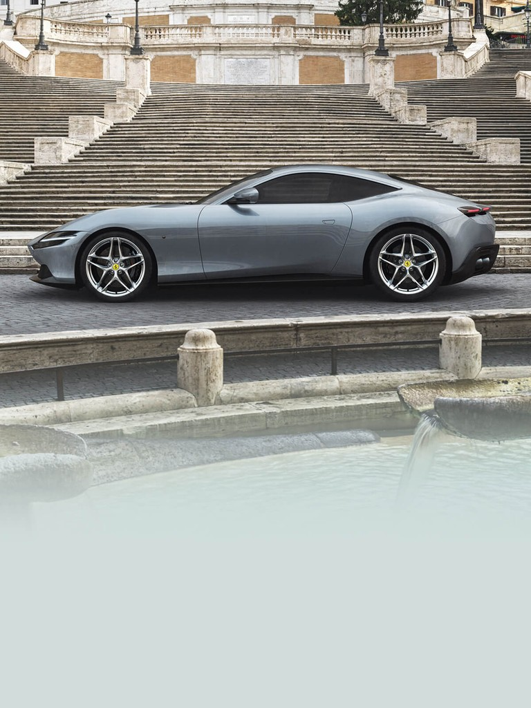 The Ferrari Roma, the new mid-front-engined 2+ coupé of the Prancing Horse, features refined proportions and time-less design combined with unparalleled performance and handling.